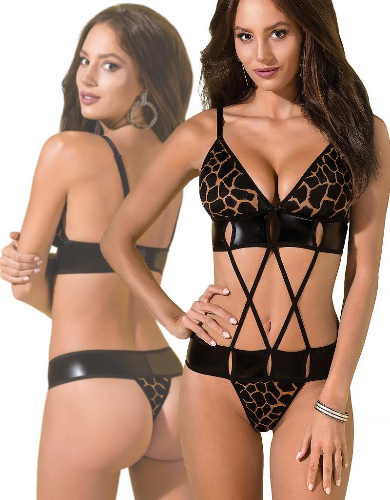 Sexy body Kiara in leopard print in combinatie met een wetlook materiaal