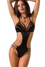 Zwarte  glanzende body Quella met string