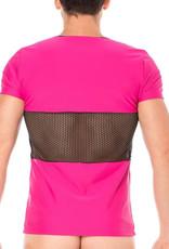 Heren Shirt, combinatie van mesh en een  elastische roze stof  van het merk Look Me