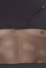 Heren Shirt, combinatie van mesh en een  elastische zwarte stof  van het merk Look Me
