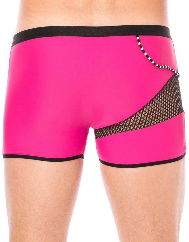 Heren boxer met een mesh deel en elastische roze stof van  het merk Look Me