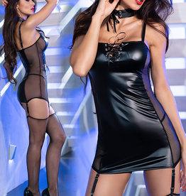 * CHILIROSE Zwarte wetlook jurk met tulle