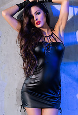 * CHILIROSE Zwart elastisch wetlook mini jurkje van Chilirose