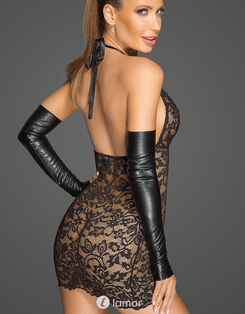 * NOIR handmade Kanten jurkje met diepe halslijn van Noir Handmade