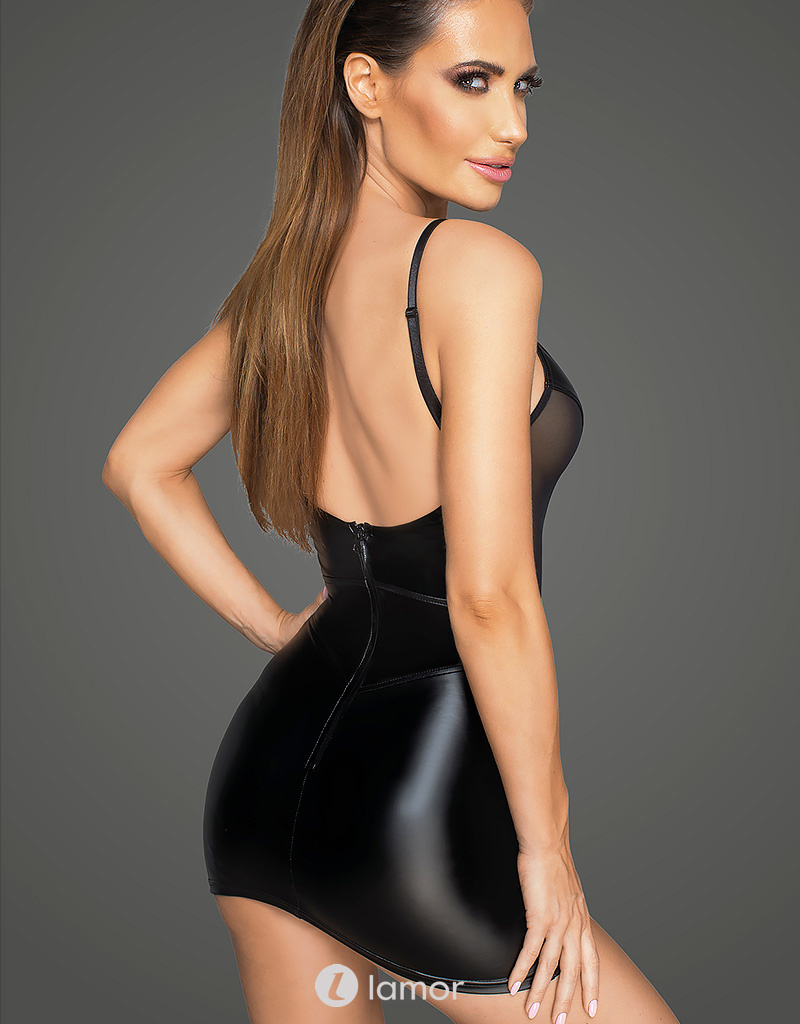 * NOIR handmade Sexy Wetlook mini jurk met  Tulle van Noir Handmade