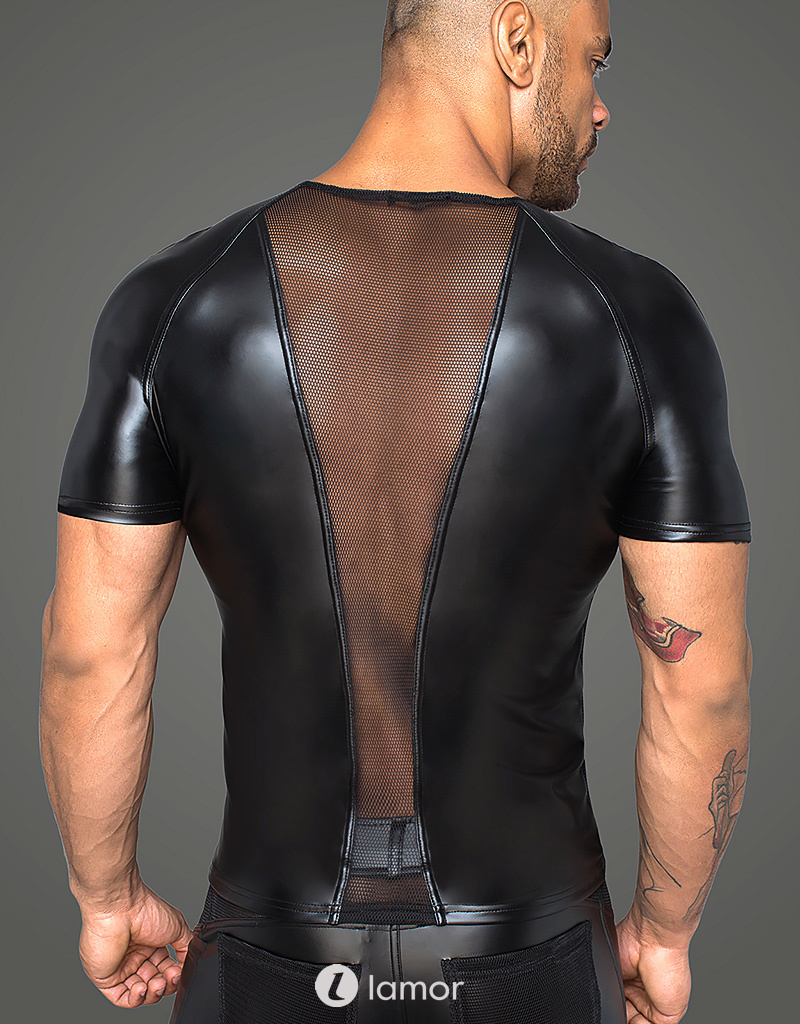 * NOIR handmade Stijlvol Heren shirt met mesh inzet van Noir Handmade