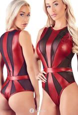 Zwart rode body Ranomi  in mattlook en tulle
