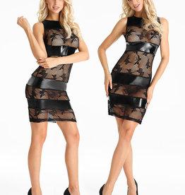 Zwart mesh & wetlook jurkje Tess