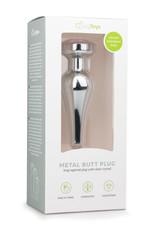 Zilverkleurige Metalen Buttplug Met Roze Kristal - Small