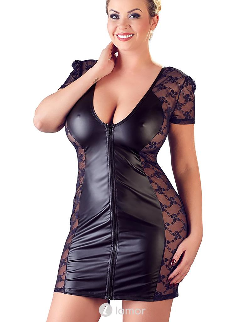 Mathilda een Sexy zwart wetlook jurkje met kanten zijkanten