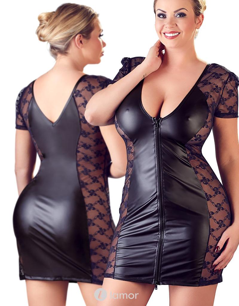Zwart wetlook jurkje Mathilda