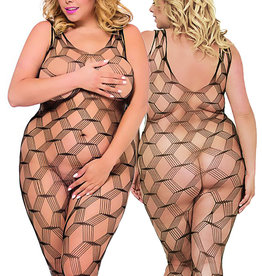 Zwarte mesh bodystocking.