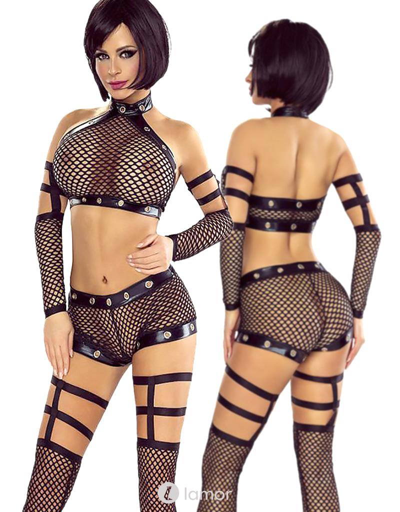* PROVOCATIVE 4-delige set mesh lingerie set