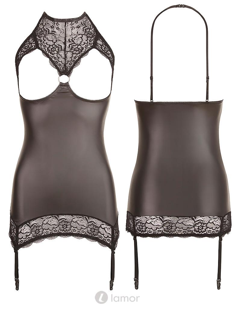 Amarins is een Sexy zwart wetlook jurkje met kanten open cups