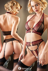 Sexy 3-delige zwart rode  kanten set Shalitha