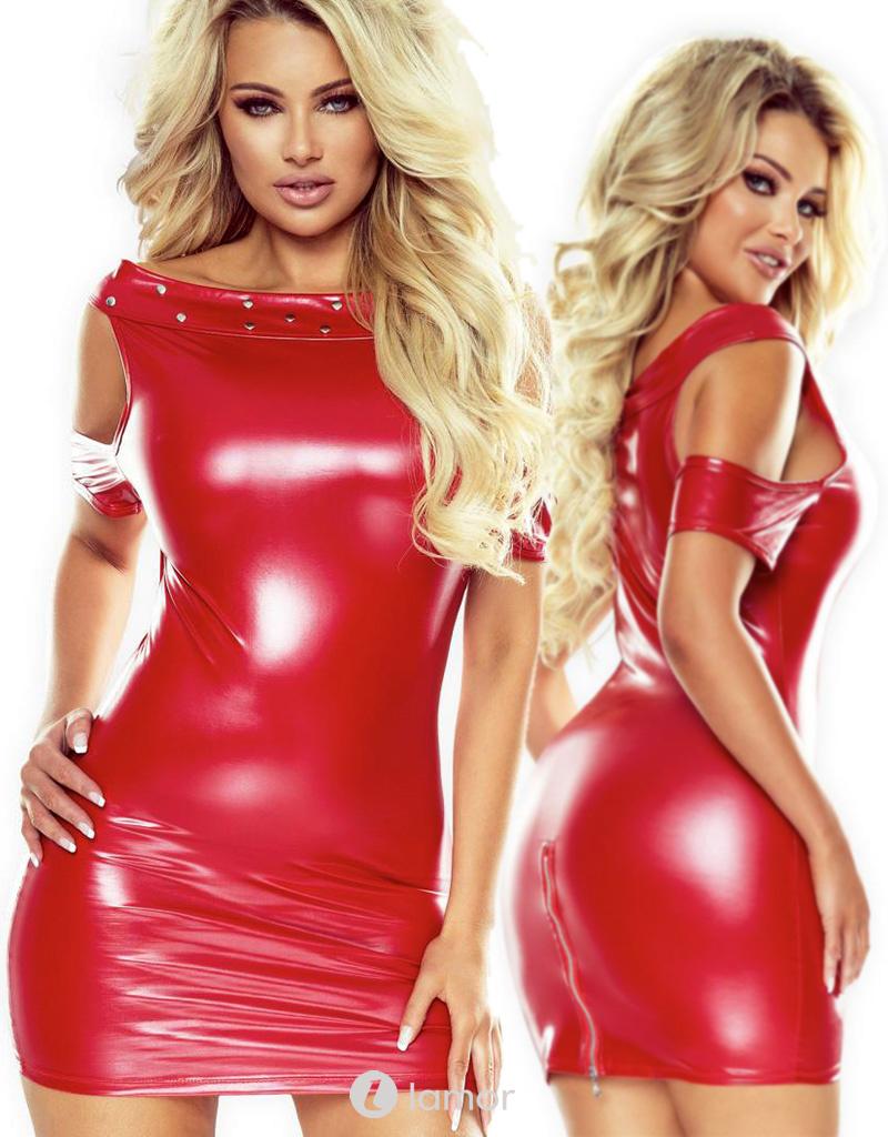* PROVOCATIVE Rood wetlook jurkje met studs