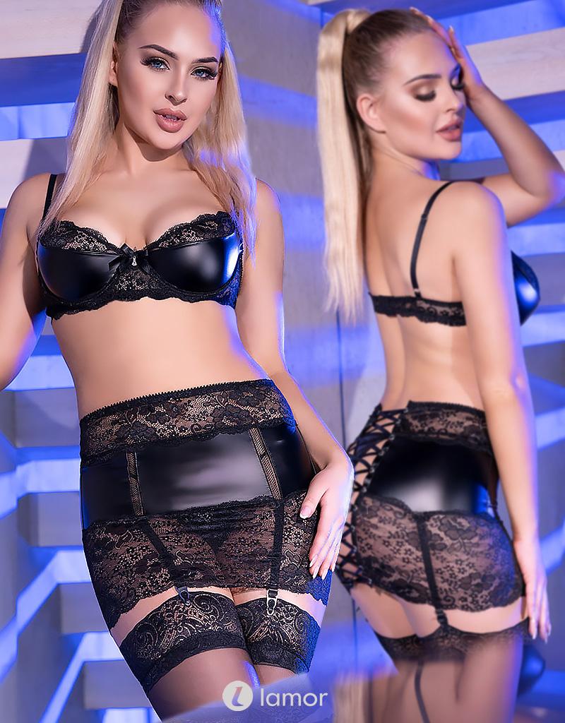 * CHILIROSE Sexy erotische set  van kant met wetlook CR4360 zwart van Chilirose