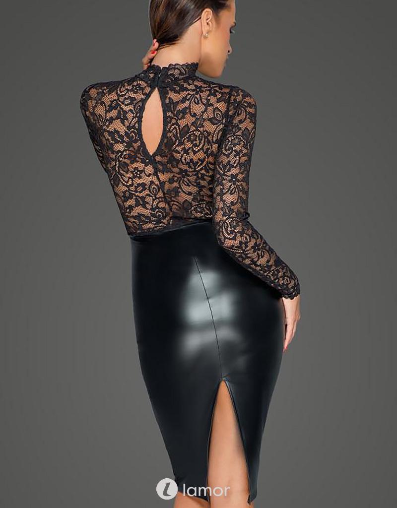 * NOIR handmade Midi jurk van zacht kant en powerwetlook van Noir Handmade MissBehaved Collection
