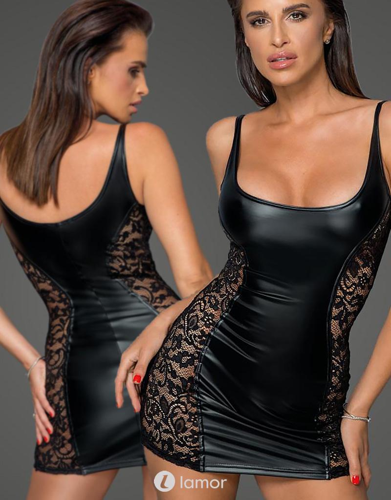 * NOIR handmade Wetlook mini jurk met kanten inzetstukken