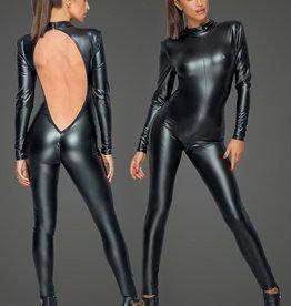 * NOIR handmade Wetlook catsuit met laag uitgesneden rugpartij