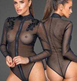 * NOIR handmade Tule dames body met geborduurde applicatie