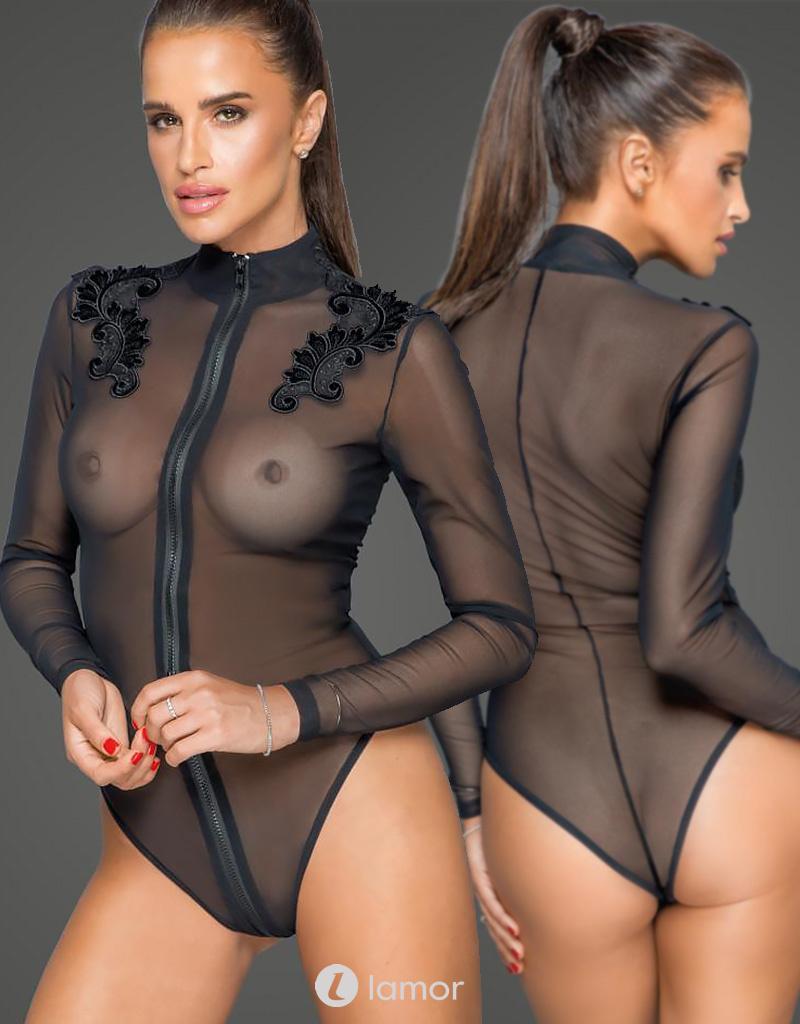 * NOIR handmade Tule dames body met geborduurde applicatie van Noir Handmade MissBeHaved Collection