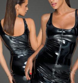 * NOIR handmade Zwarte PVC jurk met 2-weg rits
