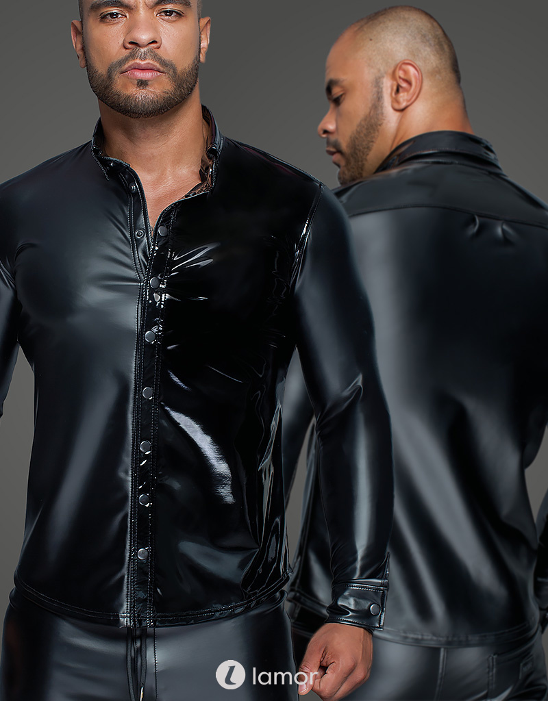 * NOIR handmade Heren shirt wetlook met PVC