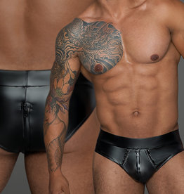 * NOIR handmade Wetlook heren short met doorlopende rits