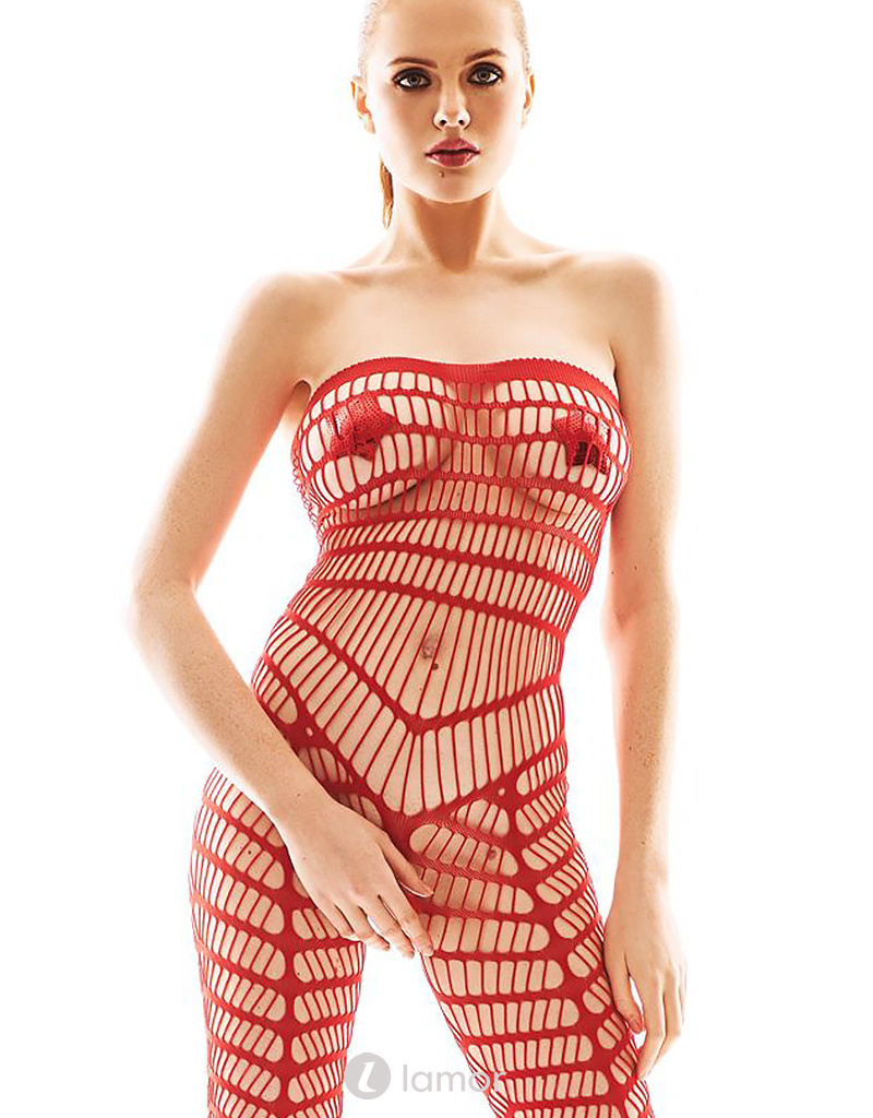 Rode strapless bodystocking Orica van Anais apparel
