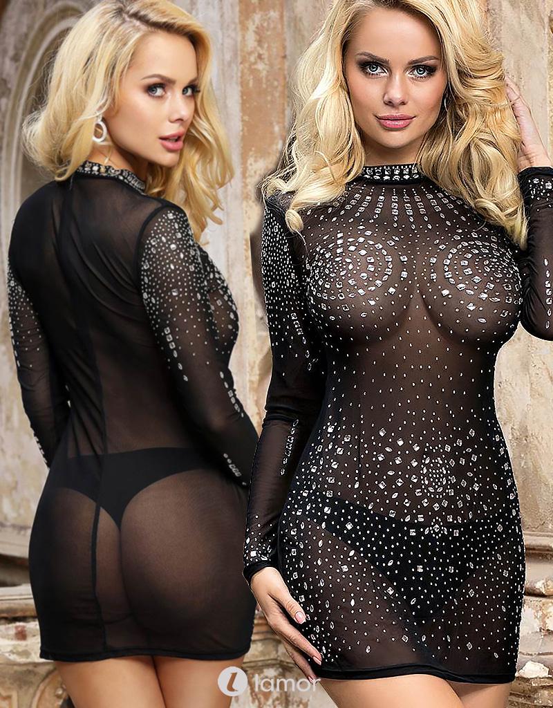 Transparant jurkje met strass