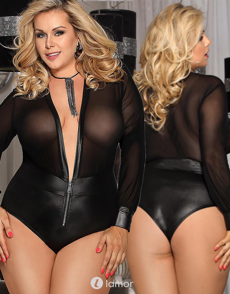 Zwart body met rits van pu leer en elastisch tulle