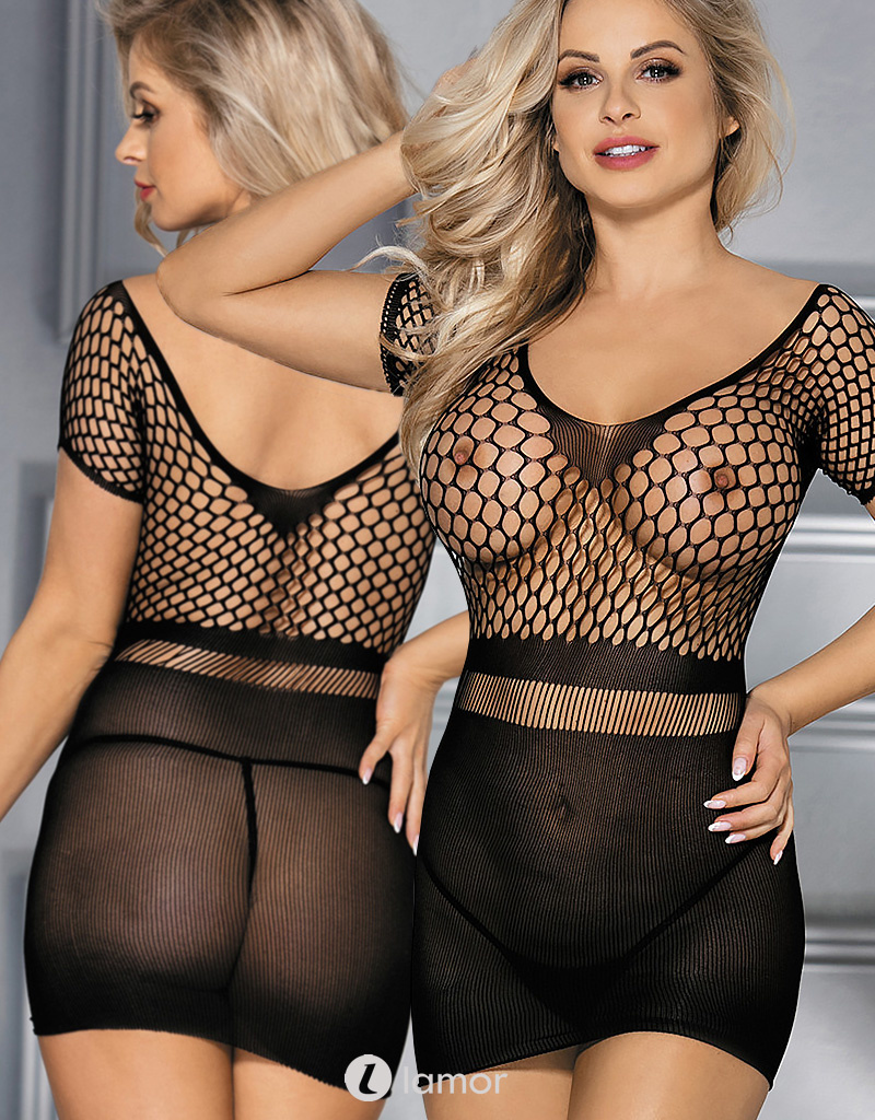 Zwart gehaakt mesh jurkje