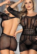 Sexy zwart gehaakt mesh jurkje met 3/4 mouw