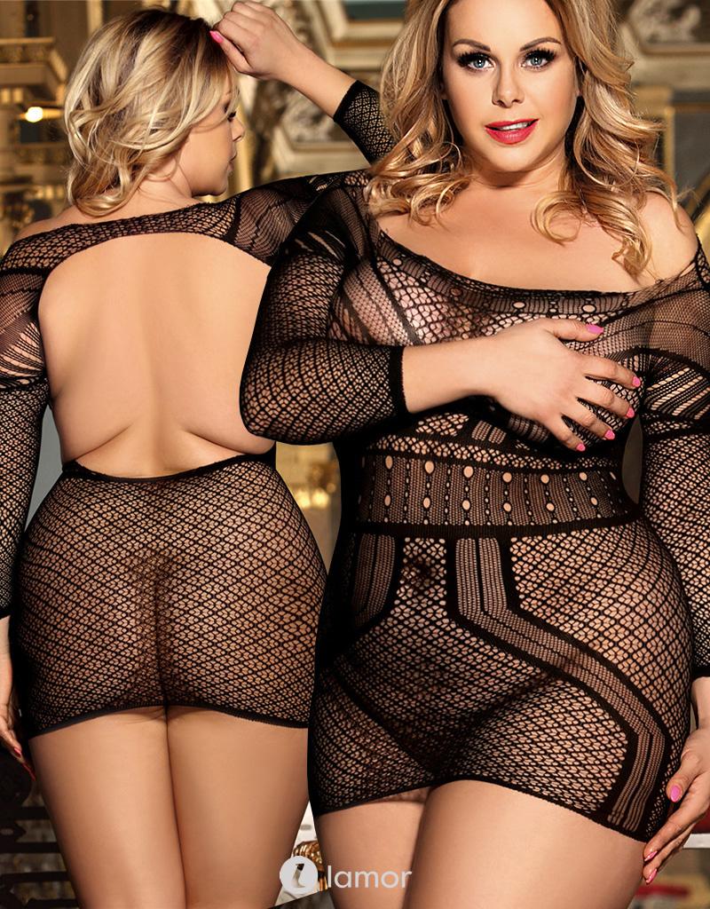 Zwart gehaakt mesh jurkje met 3/4 mouw