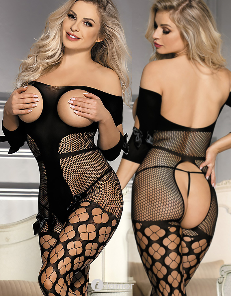 Off shoulder en borstvrije bodystocking