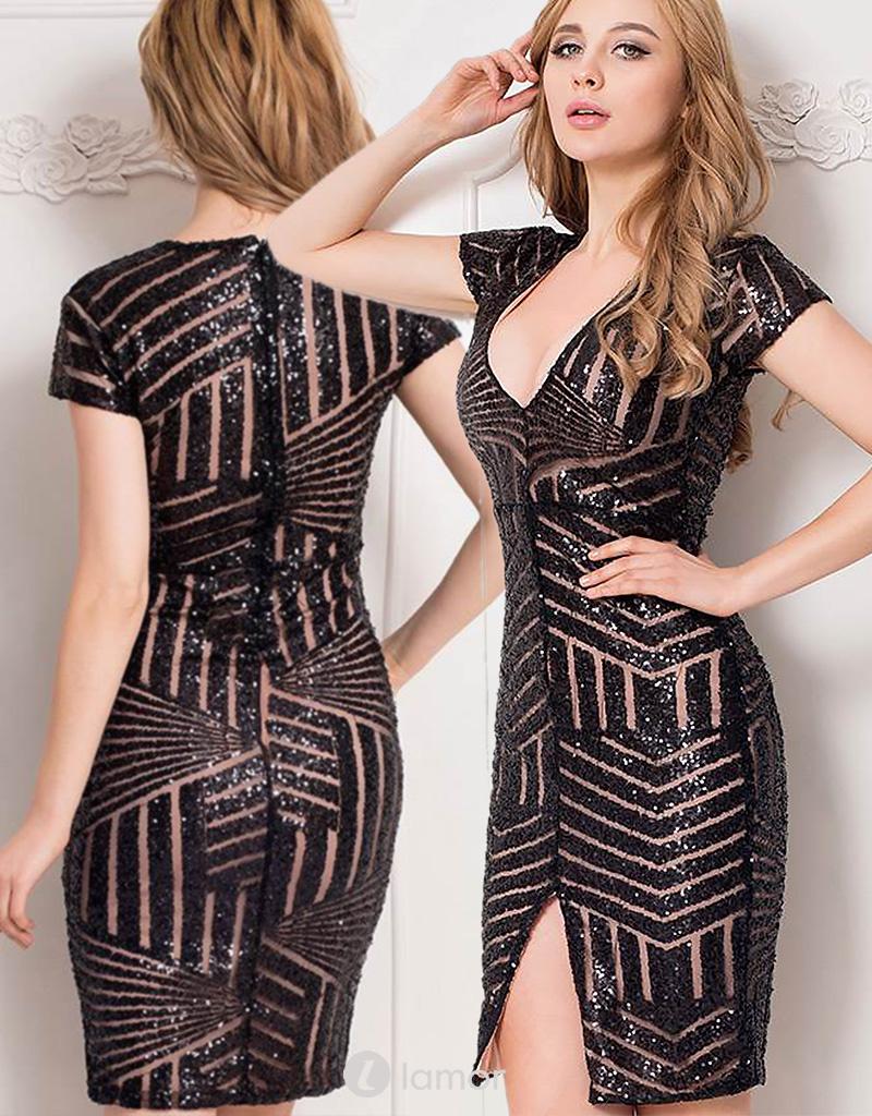 Zwarte bodycon jurk met pailletten