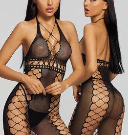 Lang zwart fishnet jurkje