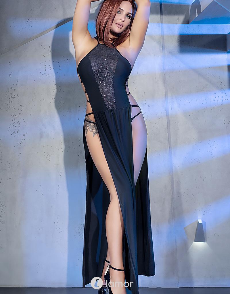 * CHILIROSE Elegante Lange jurk CR-4391-B zwart van Chilirose