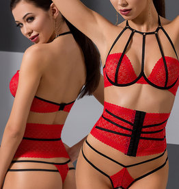 3-delige set van elegant rood kant