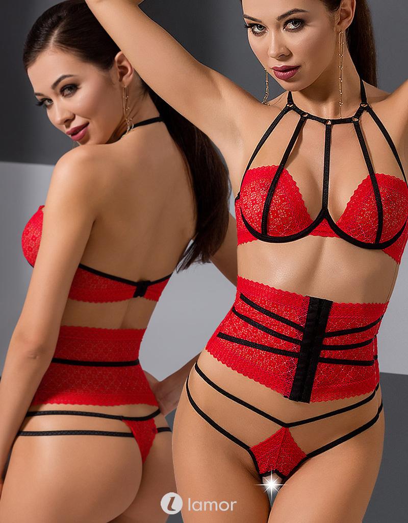 3-delige zwart rode set Akita van Passion