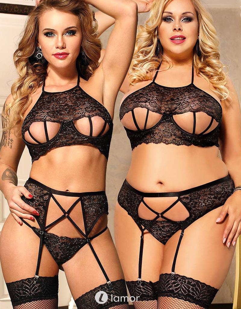 Sexy lingerie setje van zwart kant met gouden draad