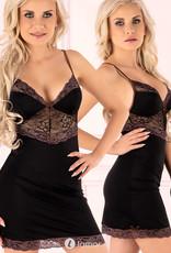 Zwarte  chemise Mimoirin met paars kant en bruine details van Cofashion