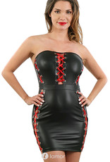 Strapless wetlook jurkje  met opvallende rode siersluiting