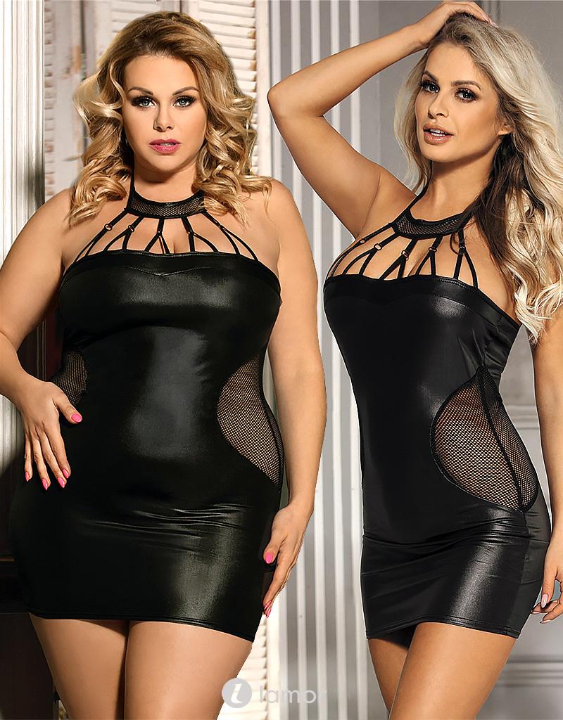 Zwart wetlook jurkje met mesh