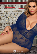 Sexy blauwe  body met lange mouwen