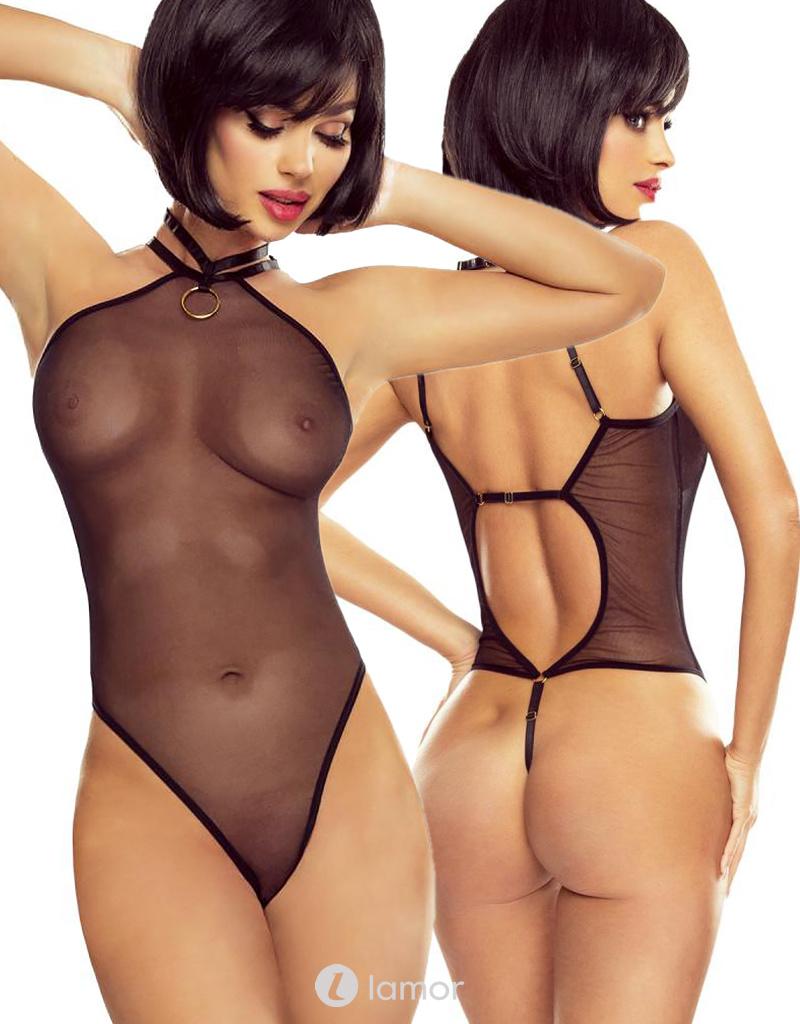 * PROVOCATIVE Zwarte transparante body