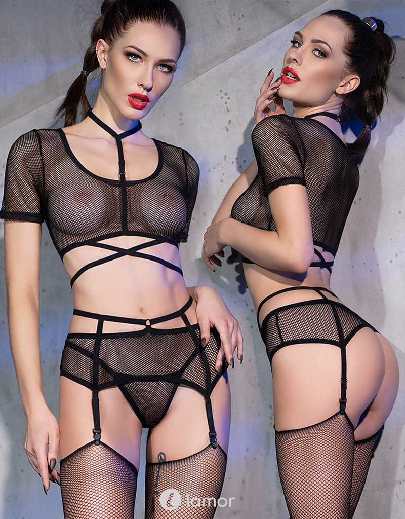 * CHILIROSE Sexy 4-delige fishnet set