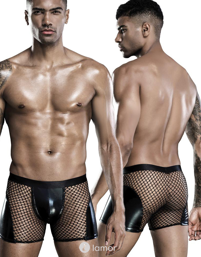 Heren boxer wetlook en mesh