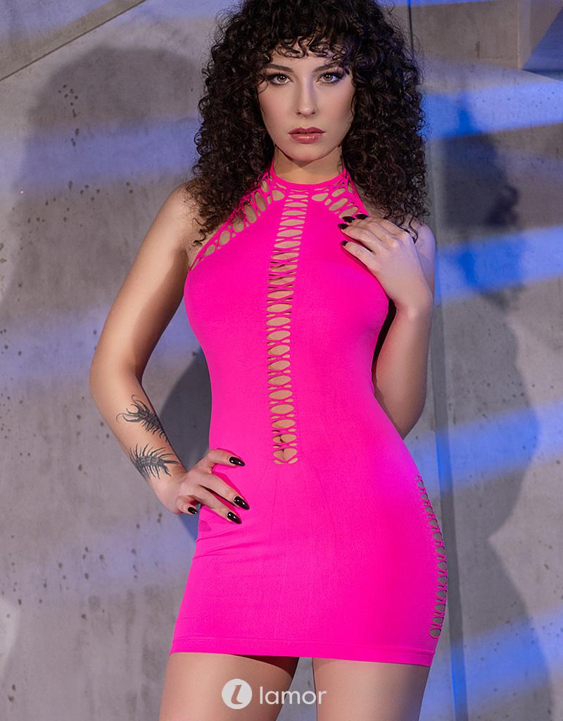 * CHILIROSE Neon roze halter mini jurkje CR-4397-P van Chilirose